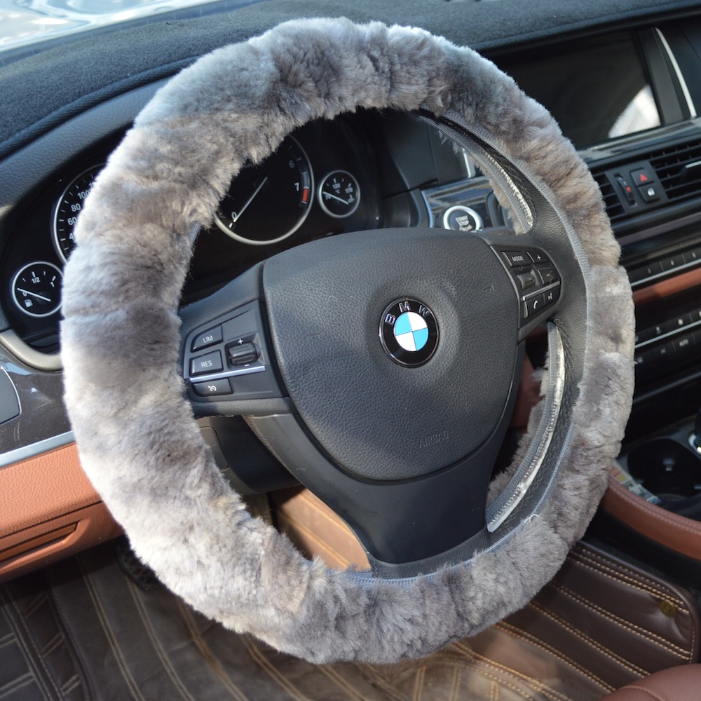 Car Stretch-on Steering Wheel Cover Soft Australian Natural Sheepskin Luxurious Wool Vehicle 35cm-43cm