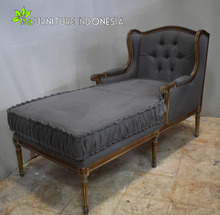 Antique French lazy Lounge sofa wooden french provincial furniture with Upholstered living room furniture