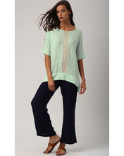 Ladies Blouses & Tops Loose Cold Shoulder Top With Short Sleeves And Embroidered Placket Casual Woman Tops