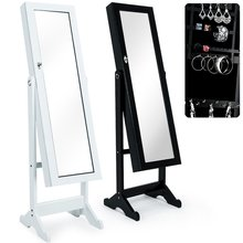 OEM wood mirrored standing jewelry cabinet with full length mirror wholesale Jewellery Storage Cabinet