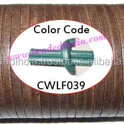 Leather Cords 2.5mm flat, metallic color - mint green. Weight: 550 grams. CWLF25039