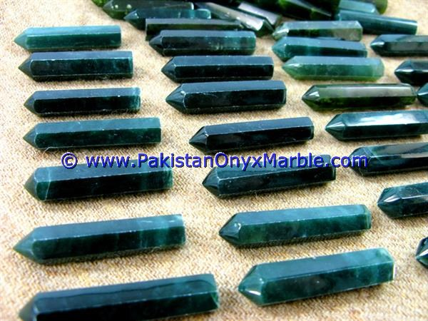 Green Nephrite Jade Point Pencils Polished