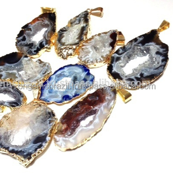 Geode Slice Pendants