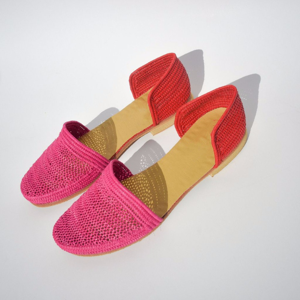 Handmade Raffia Shoes - Real leather soles