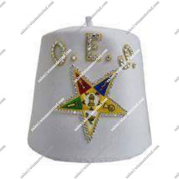 OES White Fez Hat with Star