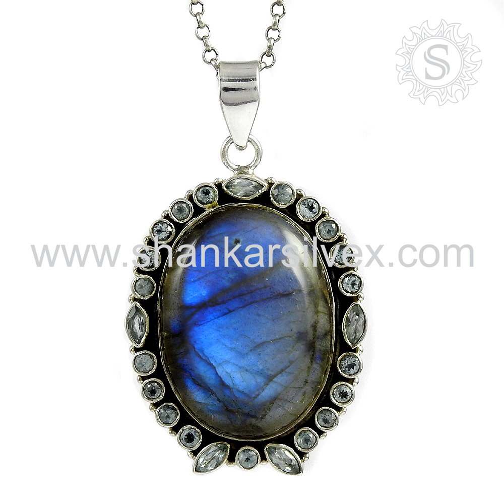 Exclusive bridal pendant 925 sterling multi gemstone wholesale jewellery silver pendants india