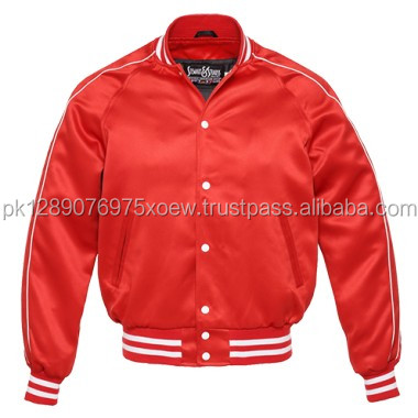 Cheap plain polyester satin varsity jackets/ college wear fashion plain satin varsity jacket/ customized popular red jackets