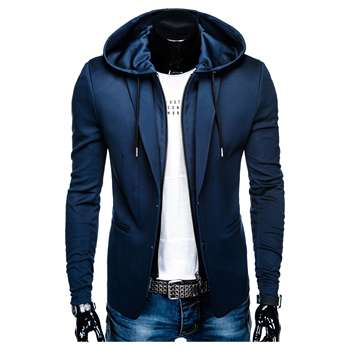 NEW COLLECTION CASUAL SLIM FIT NAVY BLAZER FOR MEN WITH ZIPPER AND HOOD M99 OMBRE BRAND POLAND