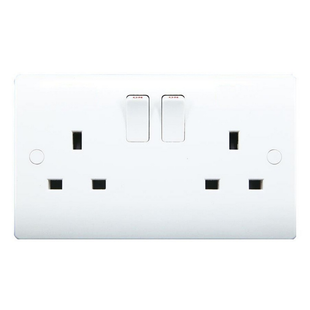 Sinoe VN034 BS Certified 13A 2 Gang Socket Outlet With Screw Covers (12 Year Guarantee)