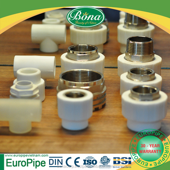 [EUROPIPE] PPR straight thread pipe adapter fitting and pipe with high quality for drainage purpose