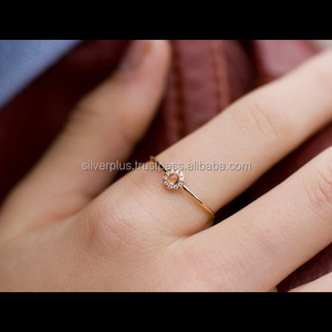 Custom made jewelry Yellow Sapphire gemstone 14k gold Engagement Diamond ring