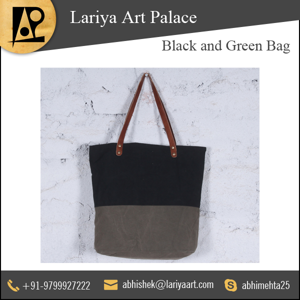 Trusted Supplier of Highly Demanded, Perfect Stitching Black and Green Bag