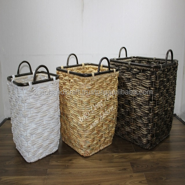 Set of 3 vietnamese Seagrass baskets Natural Color, Home decoration and furniture - SD8838B-3MC