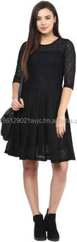 Women's A-line Black Dress