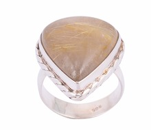 Wholesale Golden Pear Drop Rutilated Quartz 925 Sterling Silver Rings For Women ,Girls ,Ladies