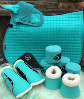 matching saddle pad and ear bonnet/polo wraps/horse boots