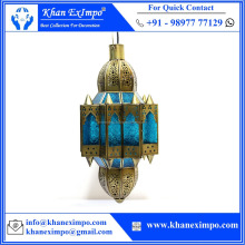 KEI-1161, Moroccan Hanging Lamp, Pendant Lamp, Wedding, Home, Christmas Brass Antique Blue Glass Chandelier Pendant Light Lamp