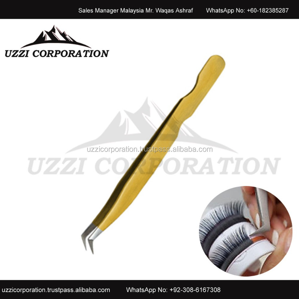 45 Degree Swiss Stainless Steel Eyelash Extension Tweezers for Russian Volume