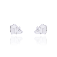 925 Silver Geometric Design Natural Bear Origami Collection