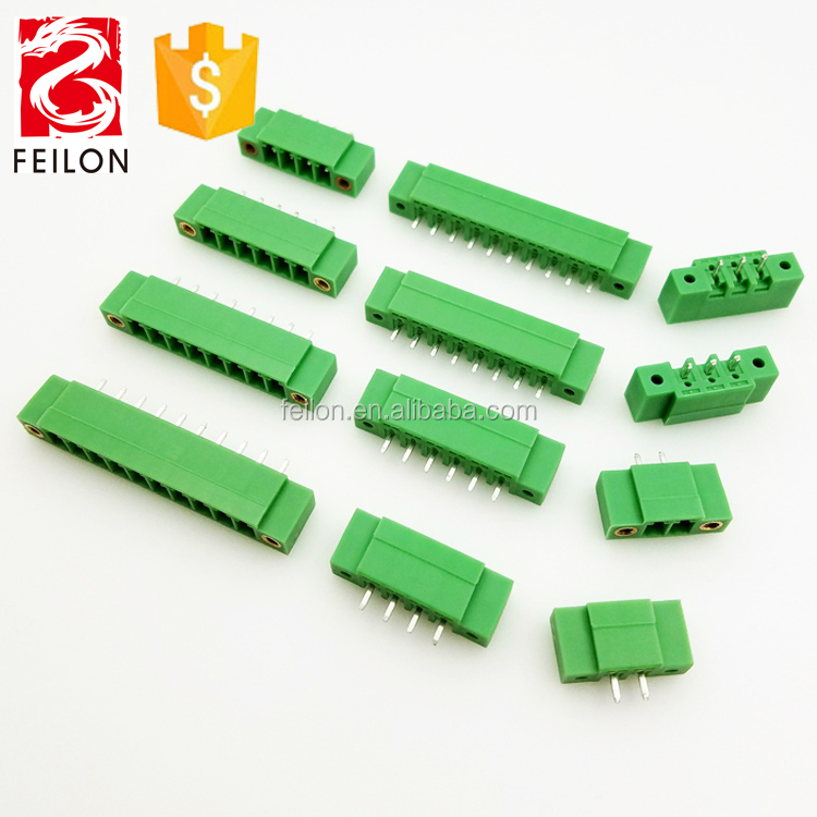 3.5mm or 3.81mm pitch 15EDGVM replace phoenix female pluggable terminal block connector with flange type