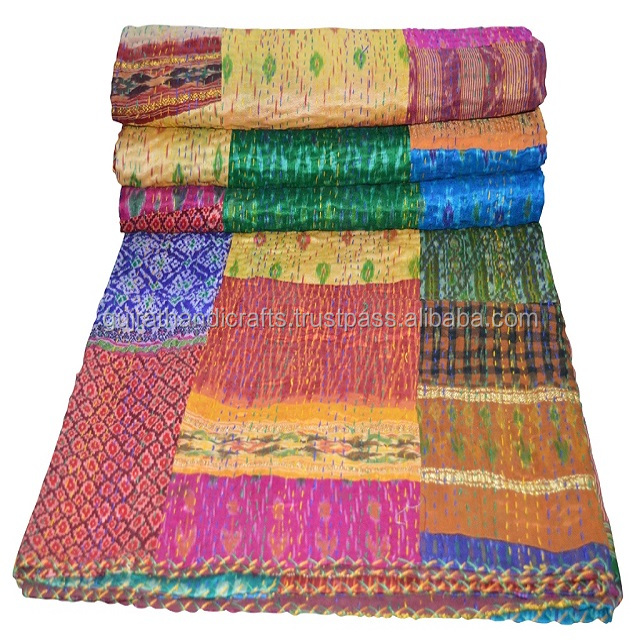 Latest Arrival !! Vintage Silk Patola Sari Kantha Quilt throw bedspread indian quilted bedspread