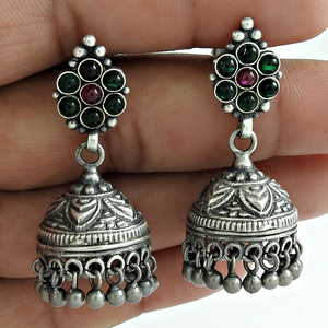 Indian Antique jhumka earring multi gemstone solid silver jewelry 925 sterling oxidised silver earrings wholesale