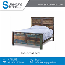Antique and Classic Look Solid Wood Industrial Bed from Leading Furniture Supplier