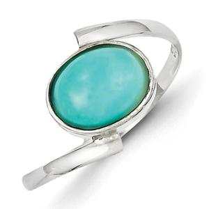 925 Sterling Silver Polished Oval Amazonite Ring Size 8