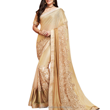 Bedeck yourself in this enchanting Chiku color Saree.