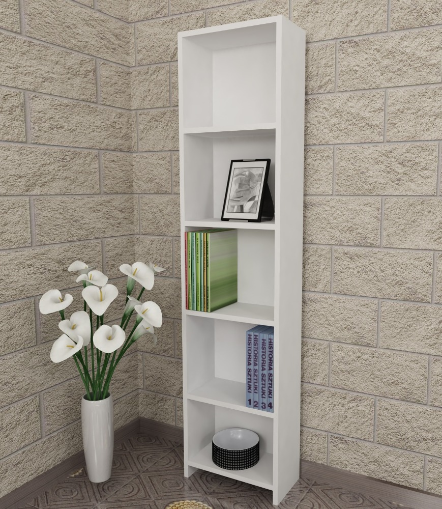 Cansu D 5 shelf bookcase white- bookcase