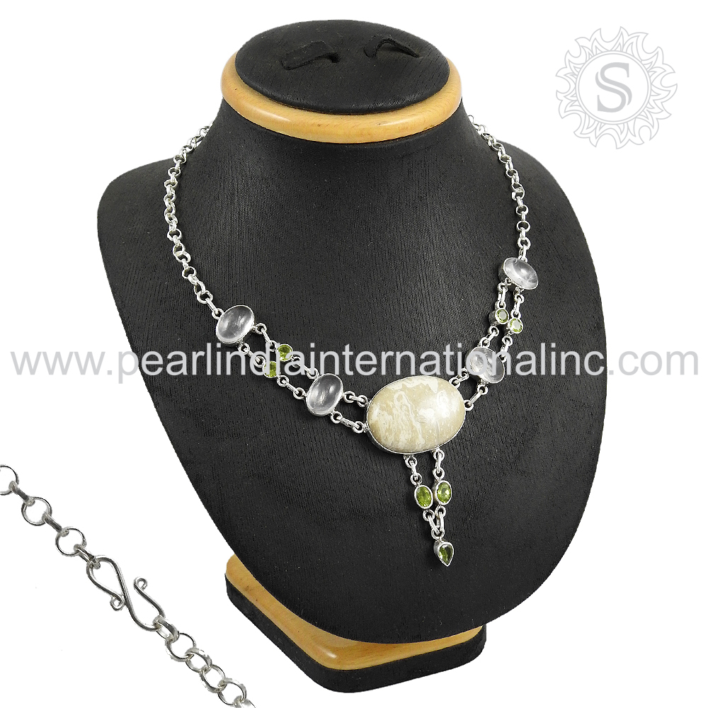 Trendy design necklace multi gemstone 925 sterling silver necklace wholesaler jewelry india