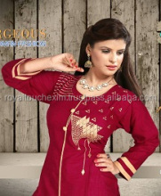 Embroidery Cotton Slub latest fancy long lady kurti neck designs for stitching