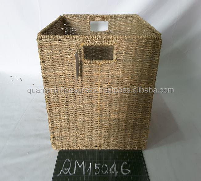 Vietnamese supplier seagrass food basket foldable wicker stationery basket high quality rattan beach basket