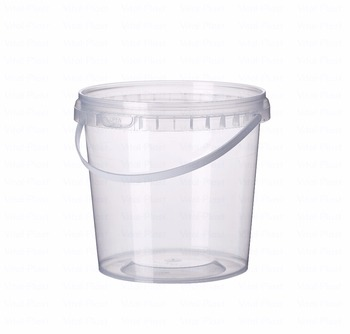 1 Liter/0.264 Gallon Round Plastic Bucket with Lid (Light version)