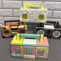 Retro Boombox Classic Artistic Radio Player Design Portable Bluetooth Speaker with an Easy Carrying Handle