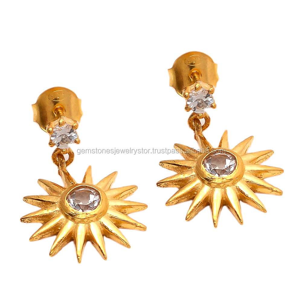 Yellow Gold Plated White Topaz Gemstone Earrings Suppliers of Party Wear 925 Silver Womens Earrings Jewelry