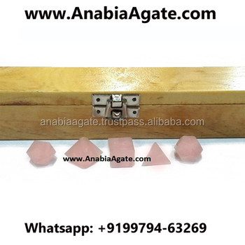 Rose Quartz Sacred 5pcs AAA Geometry Set With Wooden Box : Wholesale Platonic Solid Crystal for Sale