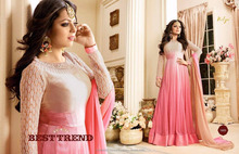 latest designer embroidered anarkali indian pakistani anarkali bridal salwar kameez suits pink colour wholesale best quality low
