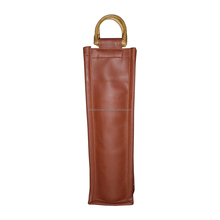 Leather wine bag with oval D shape cane handle