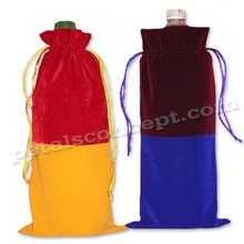 Double colored velvet bottle pouch with drawstring