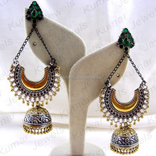 Latest Fashion Tribal Fusion Contemporary Style Oxidized German Silver Long Jhumka Earrings