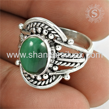 Splendid green malachite gemstone finger ring silver jewelry 925 sterling silver wholesale jewelry online