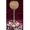 silver metal stem and crystal ball candle holder