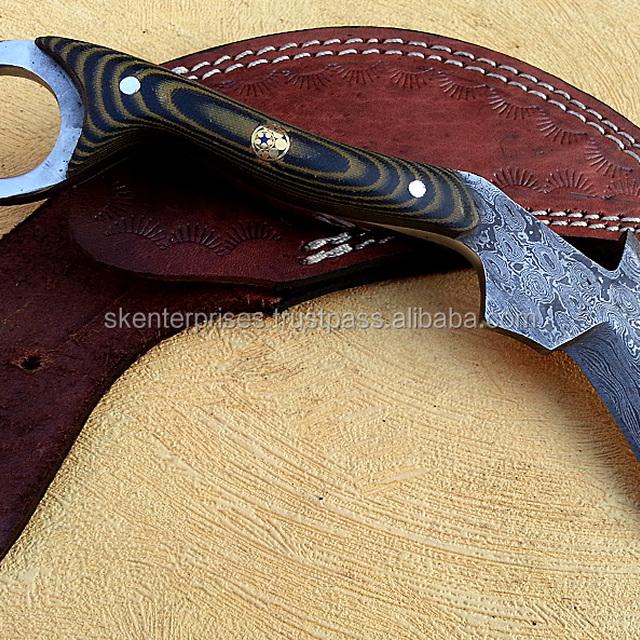 Hand made Damascus Karambit knife with Micarta Sheet SK-251