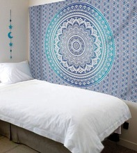 100% Cotton Printed Blue Ombre Mandala Bedsheet Tapestry