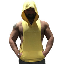 Gym wear Blank mens gym stringer pullover tank tops Hoodie Hoodie with hood Custom