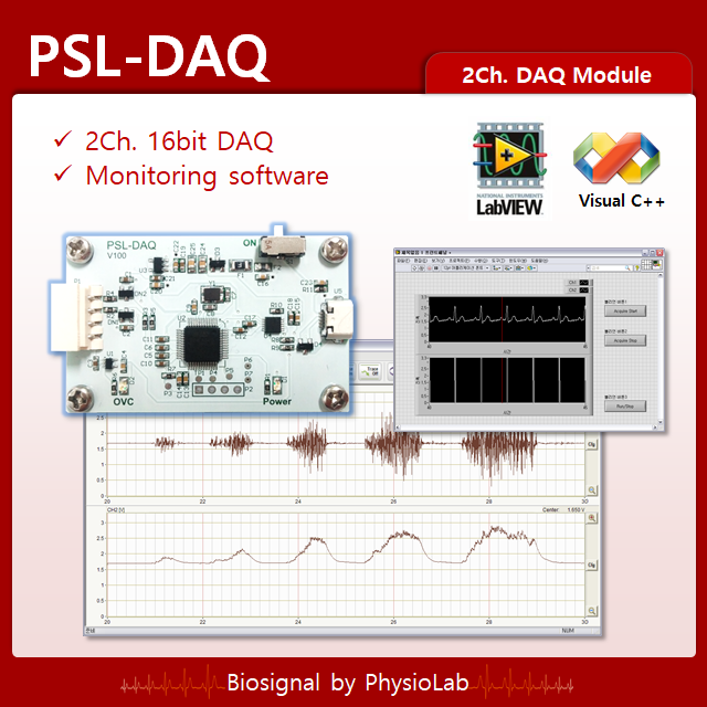 PSL-DAQ / Small 2ch DAQ / 16bit DAQ / PC Monitoring SW / USB Power