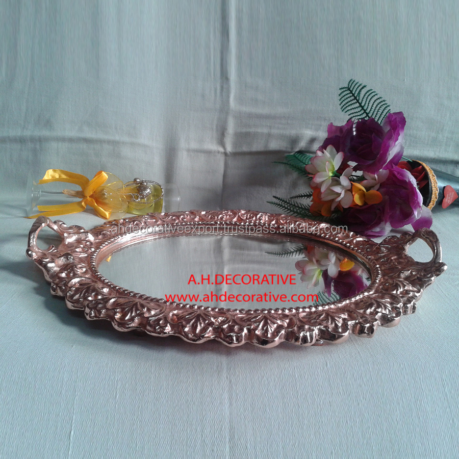 Round Crystal Tray With Mirror Top