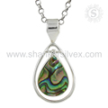 Jaipur handmade abalone shell gemstone silver pendant jewellery 925 sterling silver jewelry wholesale supplier