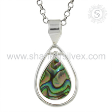 Jaipur handmade abalone shell gemstone silver pendant jewelry 925 sterling silver jewelry wholesale supplier